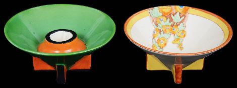 A rare Clarice Cliff Conical Yoo Hoo pattern candle holder; one other (2)