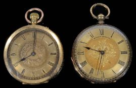 Two late 19th century Swiss 18K gold open faced pocket watches (2)