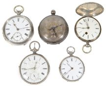 Five Victorian silver cased mostly open faced fusee pocket watches