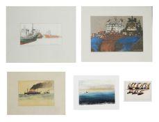 Tony Clayden (British) 'Upper Dock, Aberdeen' watercolour; others (5)