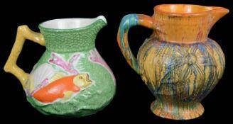 A Clarice Cliff Art Deco Delecia Dragon jug; one other (2)