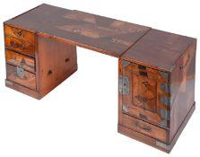 A late 19th century Japanese Meiji period Hakone parquetry tansu/low desk