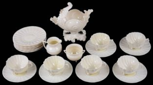 A set of six Belleek porcelain 'Neptune' pattern tea cups and saucers and plates (21)