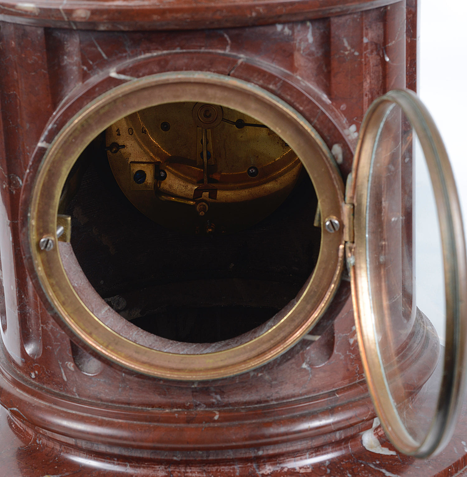 A Late 19th Century French Three Piece Red Marble And Gilt