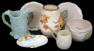 An Art Deco Clarice Cliff relief moulded jug; others (7)