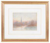 Frederick Edward Joseph Goff (British,1855-1931) 'Salisbury Cathedral', watercolour