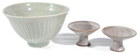 A Jeremy Leach Lowerdown studio pottery porcelain bowl; David Leach Lowerdown candlesticks (3)
