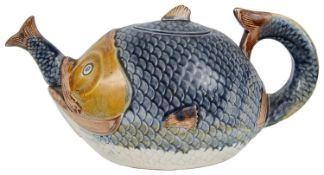 A 19th century novelty majolica teapot in the form of a fish