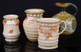 Art Deco Crown Ducal Charlotte Rhead pottery; an Art Nouveau Gouda 'Berna' jug (4)