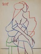 Max Pinchinat (Haitian, 1925-1985) Study of a seated woman, ink