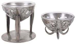 Two Liberty & Co Tudric pewter bowls designed by Archibald Knox No. 0276 and No. 0286 c.1905 (2)