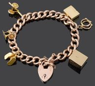 A 9ct rose gold curb link charm bracelet
