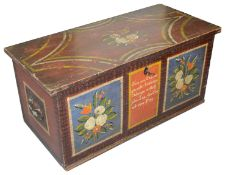 A 19th century German polychrome painted pine blanket box