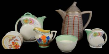 A Clarice Cliff Bizarre Lynton shape Goldstone coffee pot and cover; others (6)