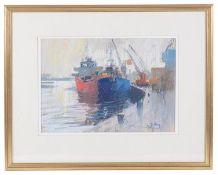 John Tookey (British, b.1947) 'Winter Afternoon, Mistley Quay', pastel