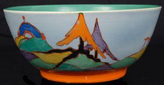 A Clarice Cliff Bizarre Caprice pattern circular bowl