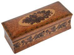A Victorian Tunbridgeware burr walnut glove box
