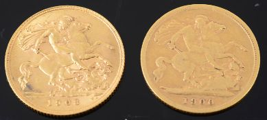 A Victoria half sovereign 1900 and an Edward VII half sovereign 1908 (2)