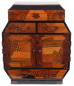 A late 19th century Japanese Meiji period Hakone wear parquetry table cabinet