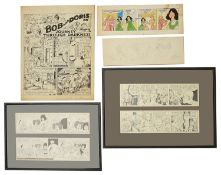 A collection of cartoon strips by various artists, pen and ink (10)