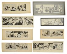 John M. Burns (British, b.1938) original cartoons, pen and ink (8)