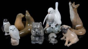 Eight Royal Copenhagen animal figures (8)