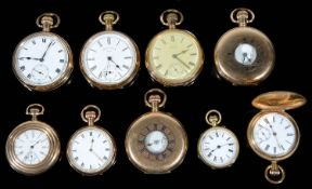 A collection of nine gold plated top wind pocket watches, (9)