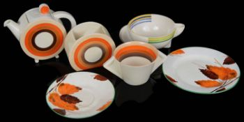 A Clarice Cliff Bonjour shape teapot and cover; others (6)