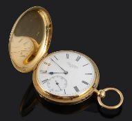 A Victorian 18ct gold full hunter pocket watch