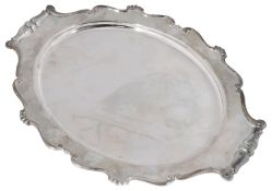 An early 20th century Italian .800 silver oval twin handled tray