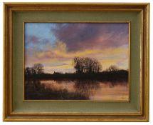 Clive Madgwick R.B.A. (1934-2005) 'Evening, River Stour near Bures'
