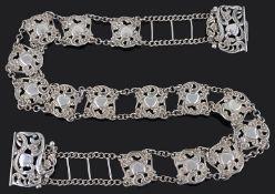 An Edwardian silver belt