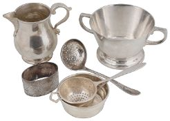 A George VI Art Deco silver twin handled sugar bowl; others