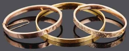 Two 9ct rose gold bangles
