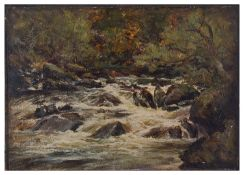 John Harvey Oswald (Scot. fl. 1870-1899) 'A sketch from nature on the Glenfinlas Water'