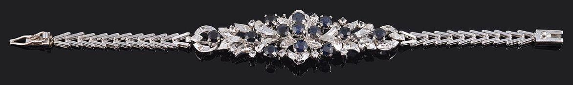 A Continental contemporary sapphire set bracelet