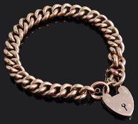 A 9ct rose coloured curb link bracelet