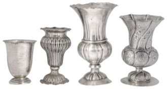 Four early 20th century Italian .800 silver vases