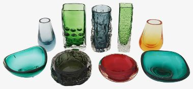 A collection of Whitefriars glass designed by Geoffrey Baxter