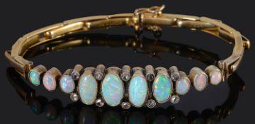 An attractive Edwardian opal and diamond set bracelet
