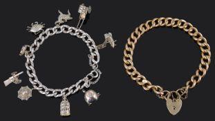 A 9ct gold curb link bracelet and Sterling silver charm bracelet