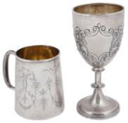 An Edward VII silver goblet and a George V silver christening mug