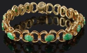 A Continental diamond and jade articulated bracelet