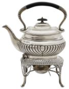 An Edwardian silver kettle on stand with spirit burner