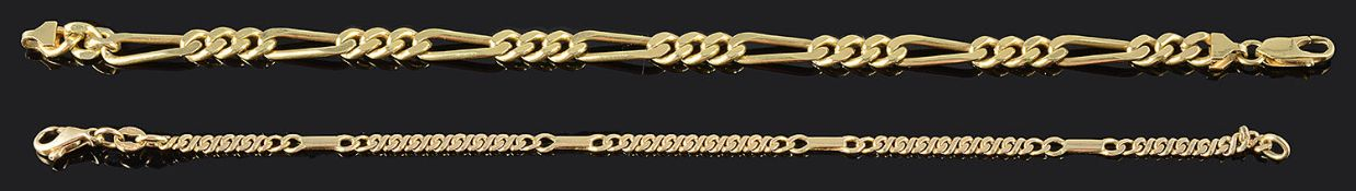 A contemporary Continental 18ct gold figaro link bracelet and a similar 9ct gold bracelet (2)