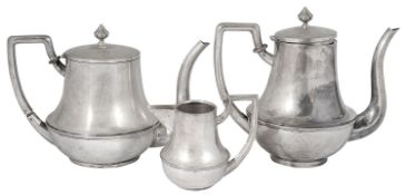 An early 20th century Italian .800 silver tea and coffee pot together with a near matching milk jug