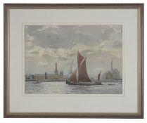 William G. Morden RI (20th c. Brit.) views of the industrial Thames