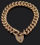 An Edwardian 15ct rose gold curb link bracelet