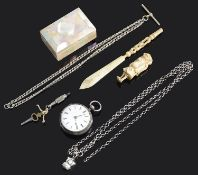 An early Victorian silver open faced pocket watch and a small collection of vertu