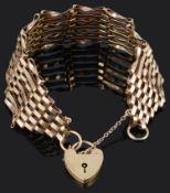 A 9ct gold seven bar gate link bracelet